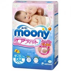 """Японские подгузники """"Moony"""", оригинал, размер S, от 4-8 кг, 84шт"""