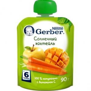 Пюре Gerber солнечный коктейль 90г с 6м