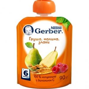 Пюре Gerber груша/малина/злаки 90г с 6м