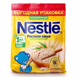 Каша Nestle безмолочная рисовая 160г с 4месяцев (мягкая упаковка)