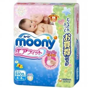 """Японские подгузники """"Moony"""", оригинал, размер S, от 4-8 кг, 102шт"""