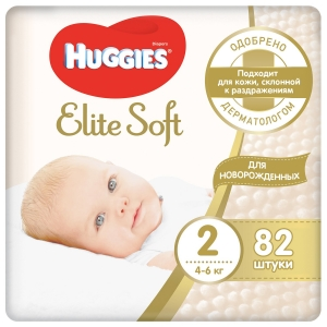 Подгузники Huggies Elite Soft  2 (4-6кг) 82шт